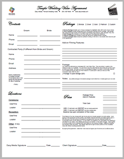 Temple Wedding Video Contract